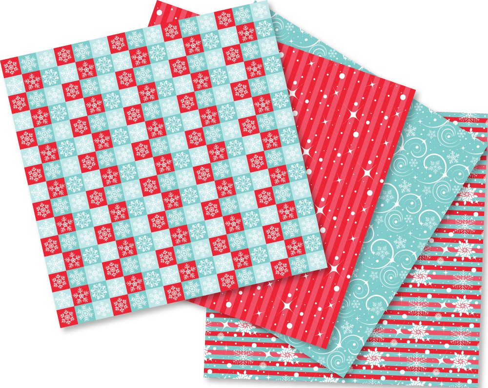 Winter Wonderland Christmas Digital Paper Pattern Pack example image 2