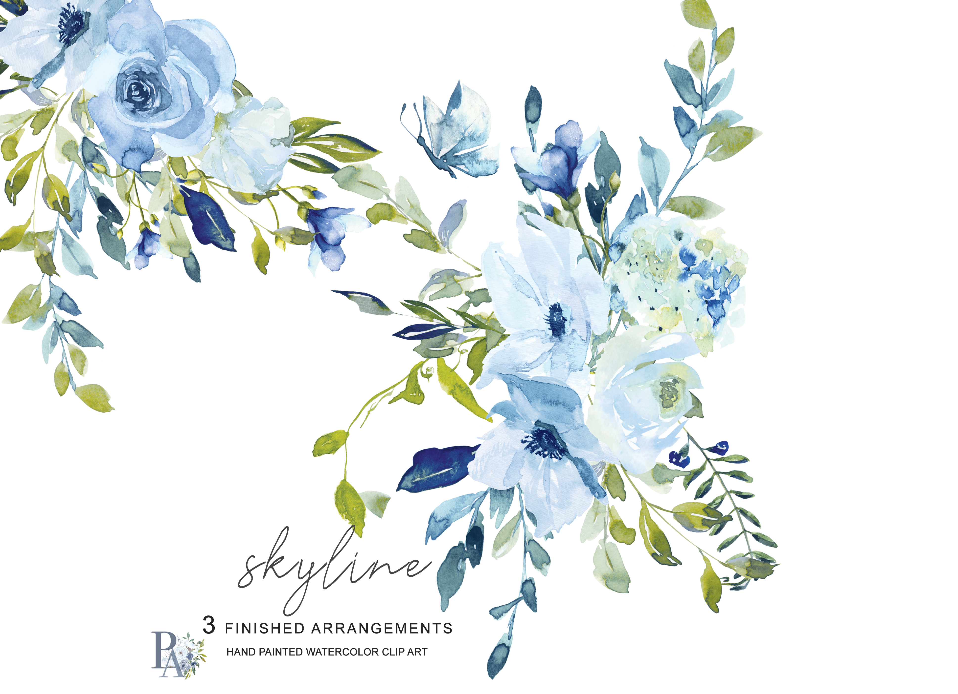 Hand Painted Watercolor Light Blue and Green Florals Clipart