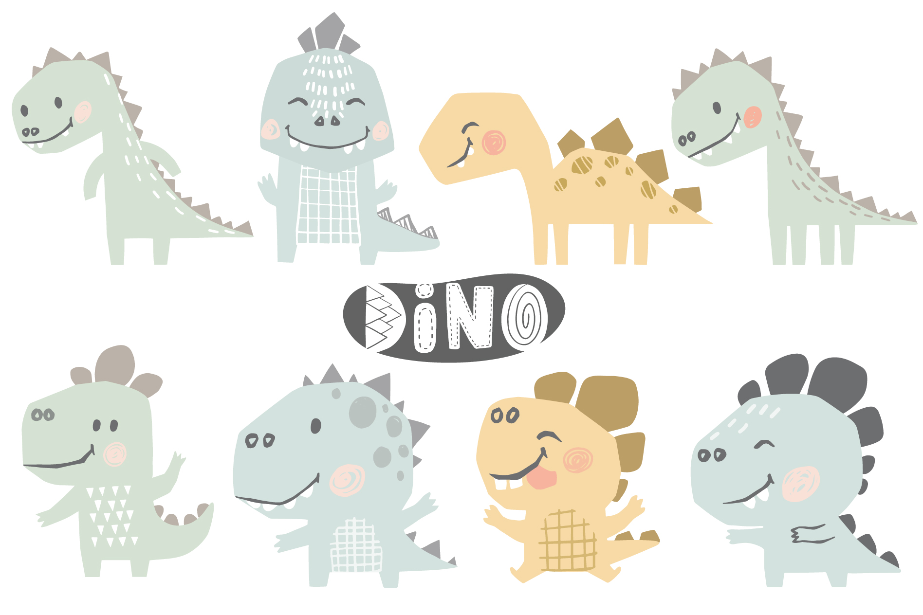 Dinosaurs on the beach. Kids vector example image 6