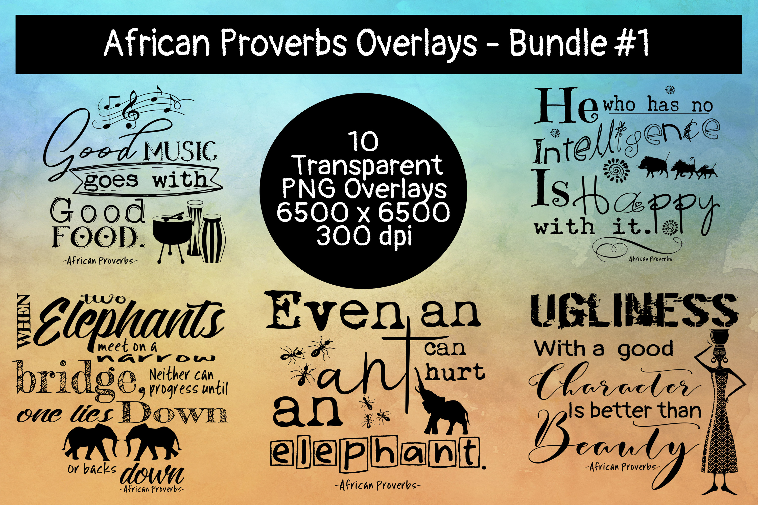 African Proverbs Overlays Bundle #1 example image 2