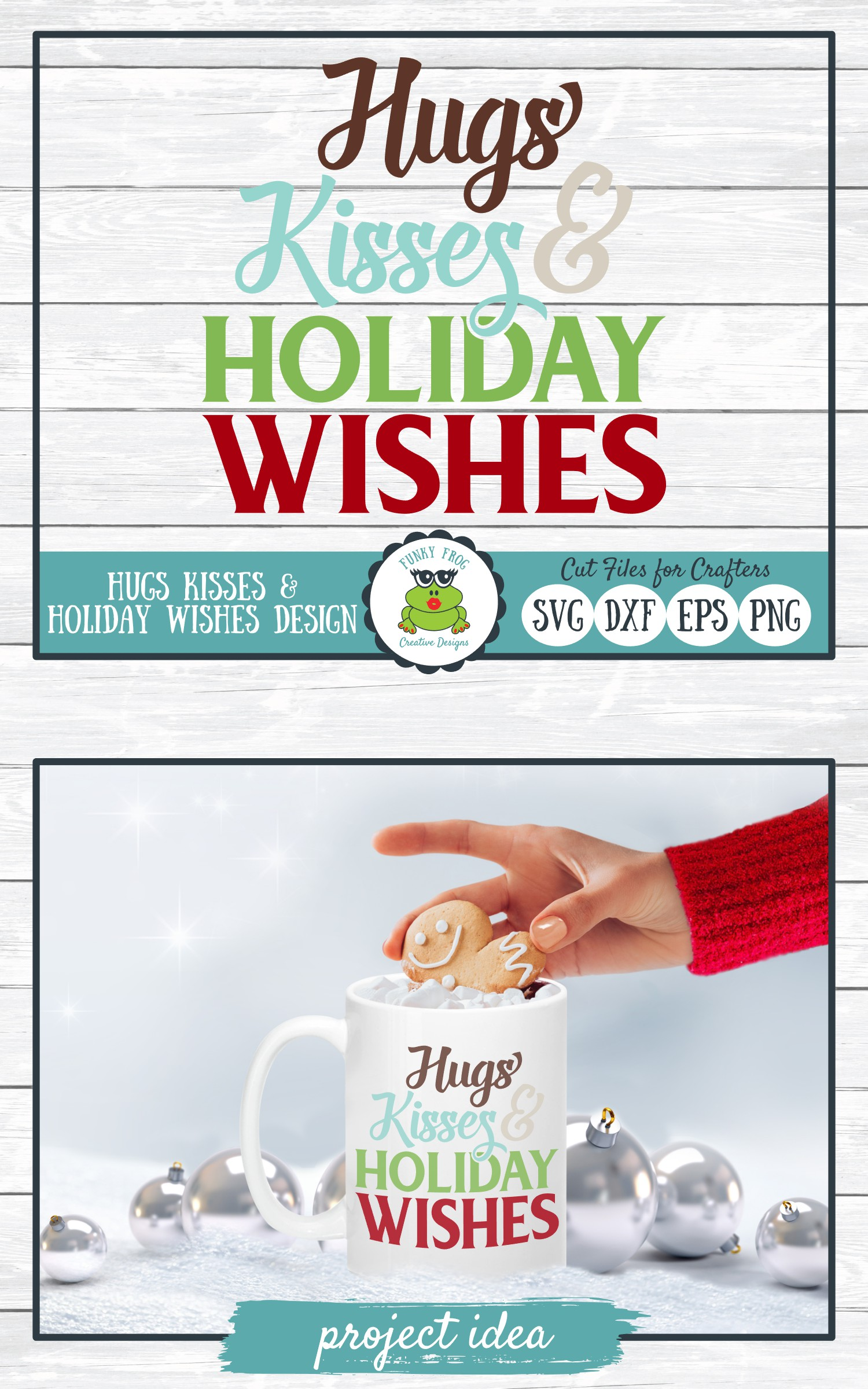 Hugs Kisses & Holiday Wishes, Winter Holiday SVG Cut File example image 4