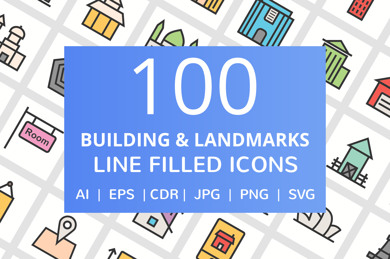 100 Building & Landmarks Filled Line Icons example image 1