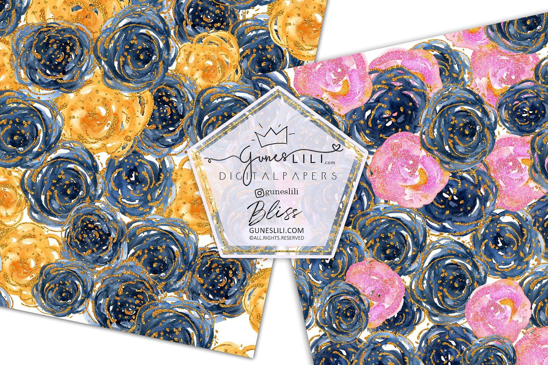 Watercolor Floral Scrapbook Paper Seamless Pattern GunesLili example image 2