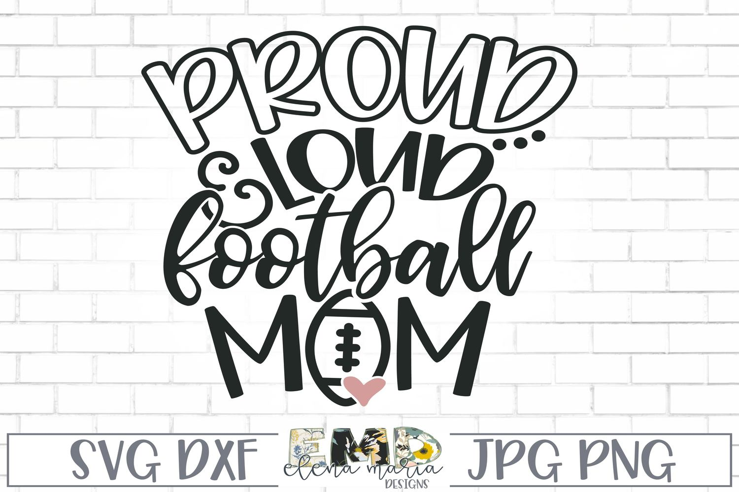 Proud And Loud Football Mom Svg example image 2