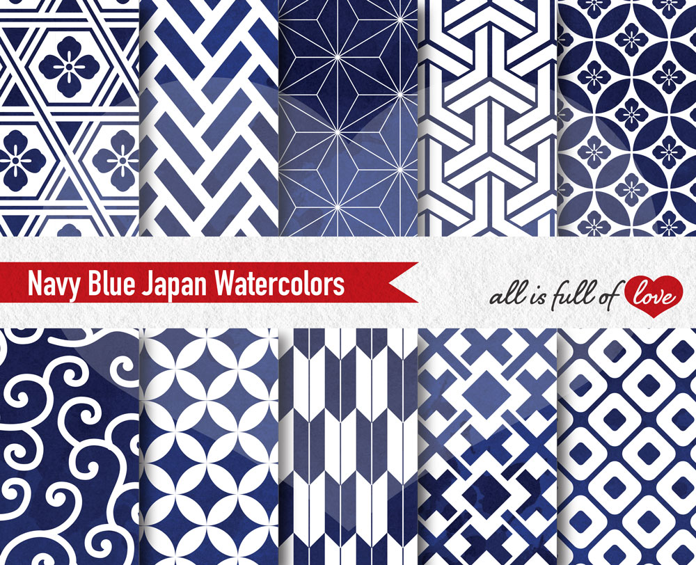 Navy Blue Digital Paper Japanese Background Patterns example image 2