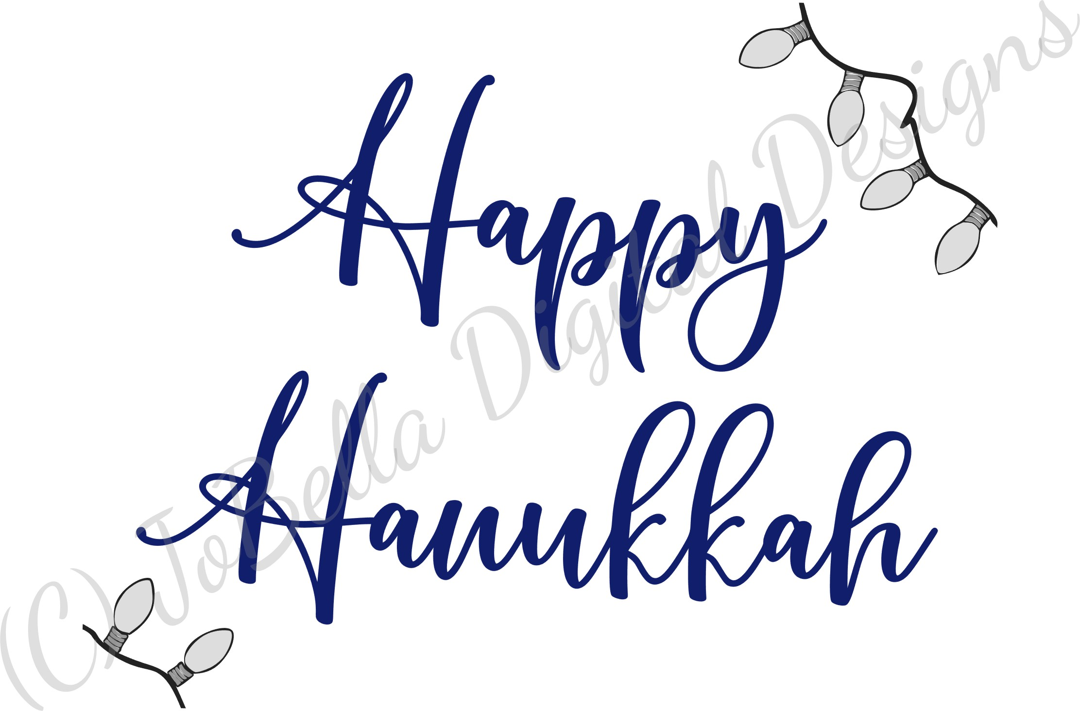 Lights And Happy Hanukkah SVG, Printable and Sublimation PNG example image 3