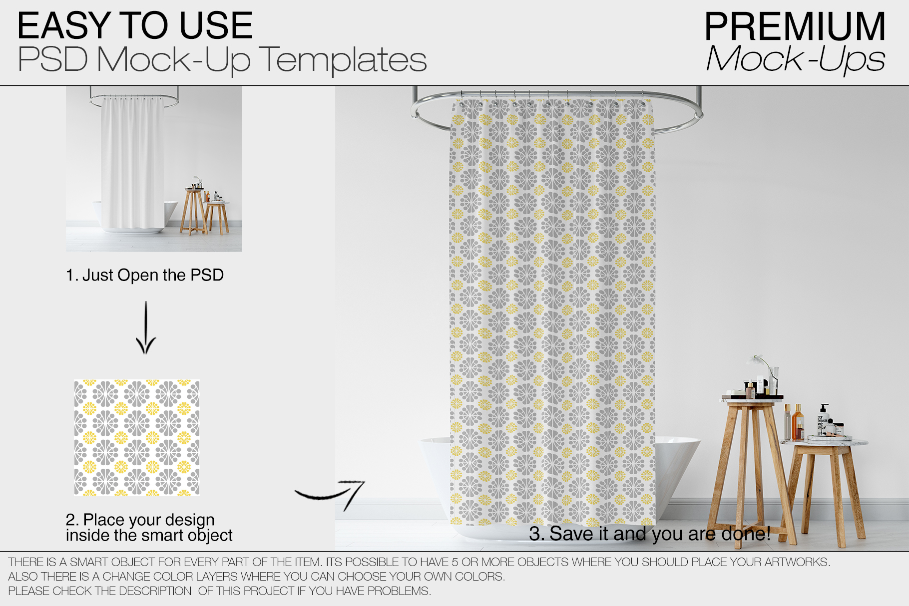 Bath Curtain Mockup Pack example image 6