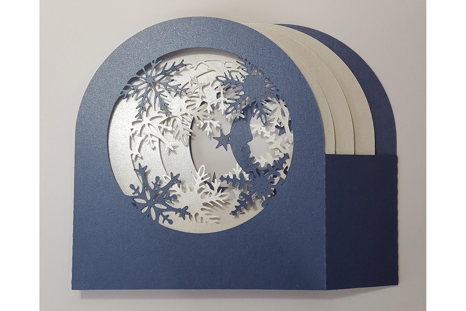 Snow Globe Winter Village shadow box card example image 5