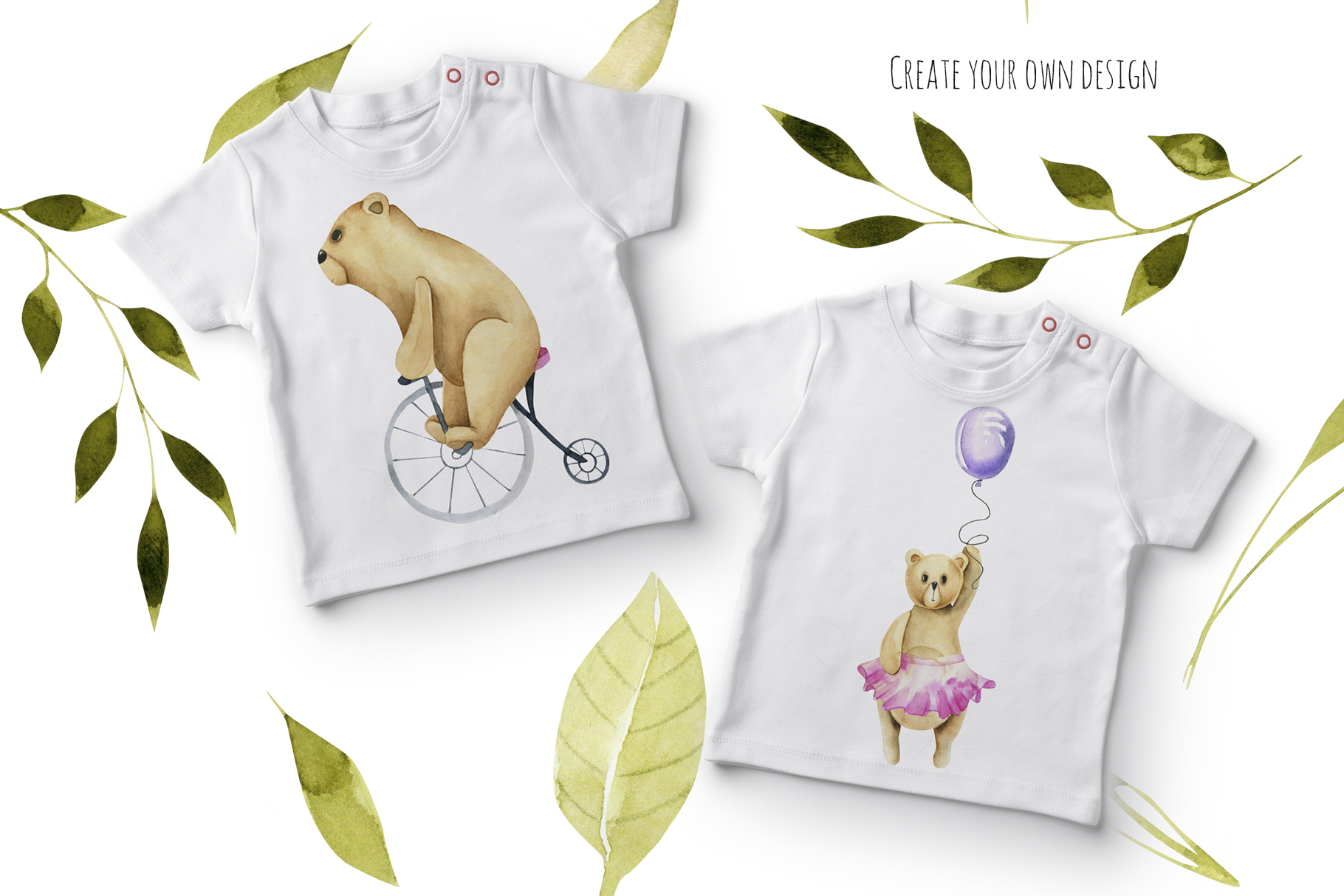 My dear Bears. Watercolor clipart. example image 7