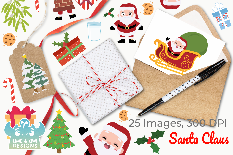 Santa Claus Clipart, Instant Download Vector Art, Commercial example image 4