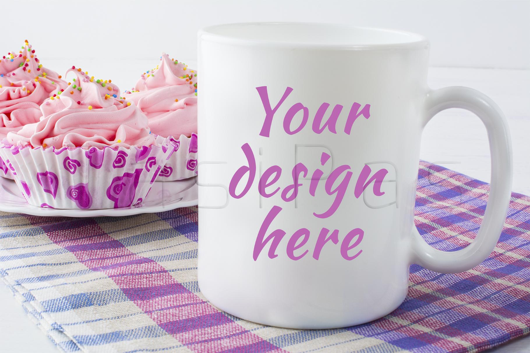 Coffee mug mockup with checkered napkin example image 1