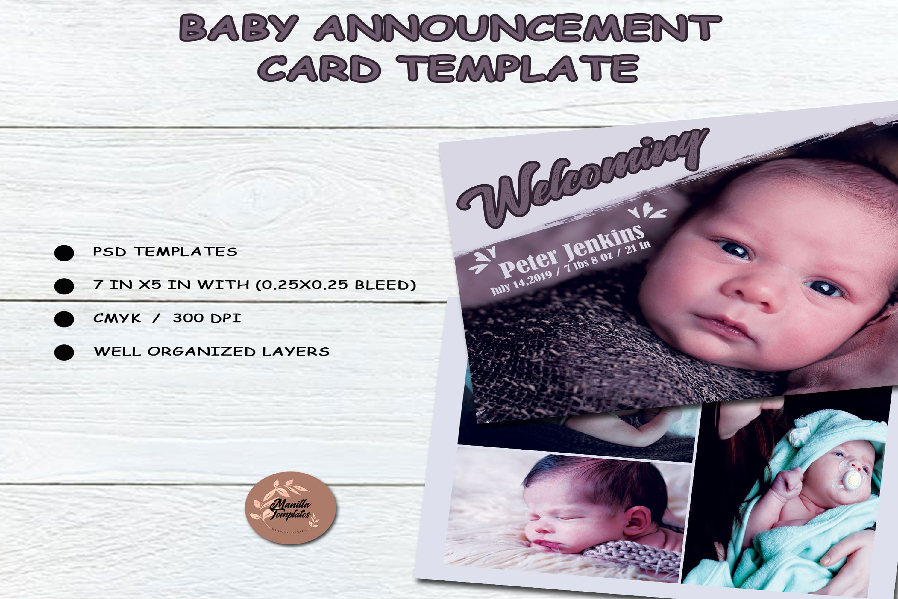 Baby Shower Announcement Card Template example image 3