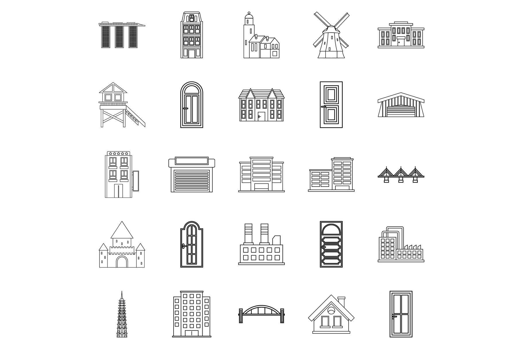 Development icons set, outline style example image 1
