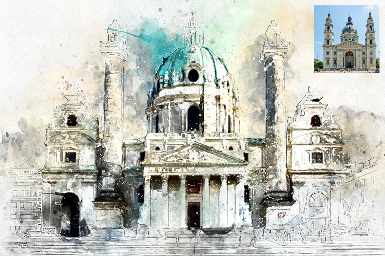 Watercolor Mixed Art Photoshop Action example image 5