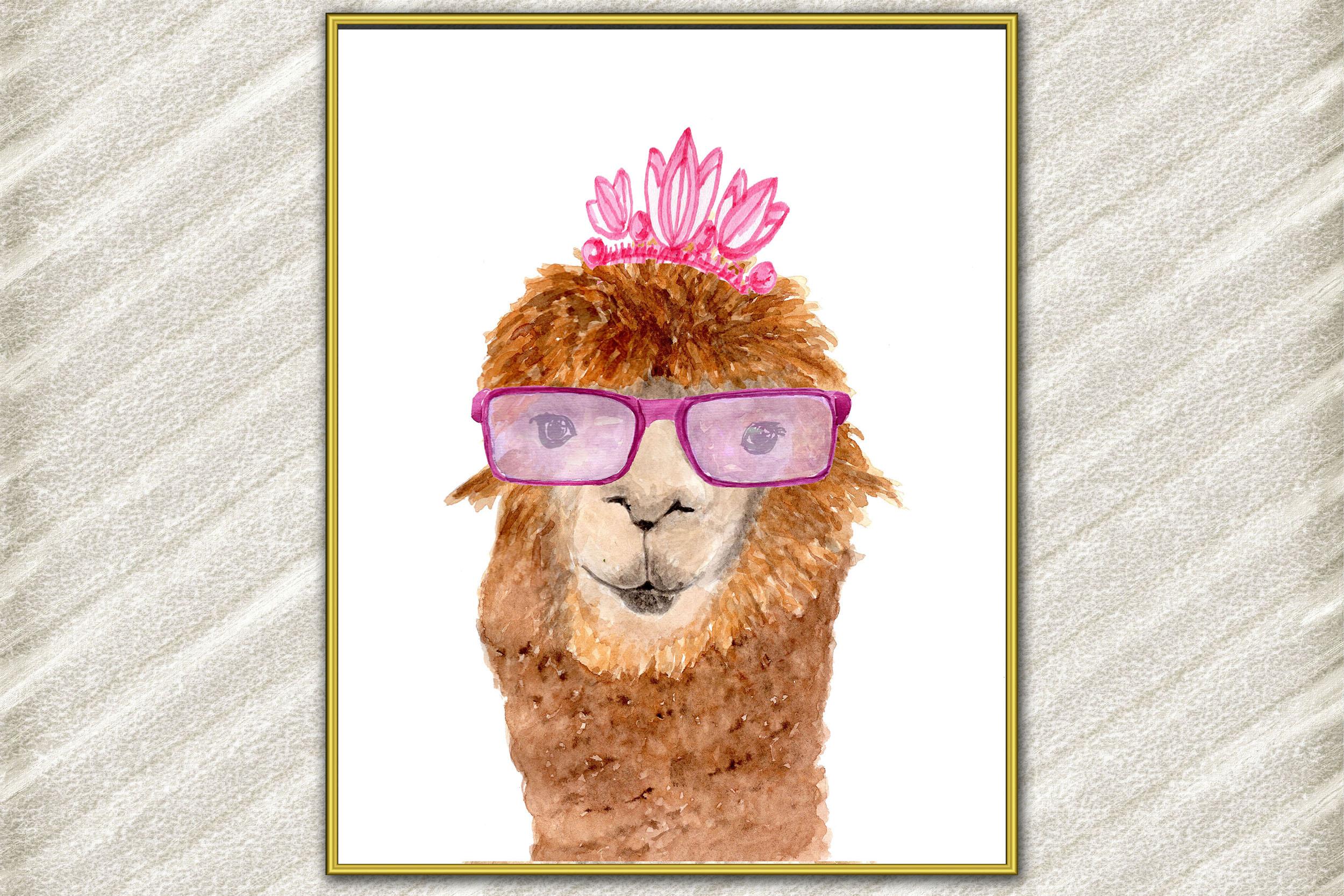 Llama watercolor print, Funny Llama, Alpaca prints Printable example image 1