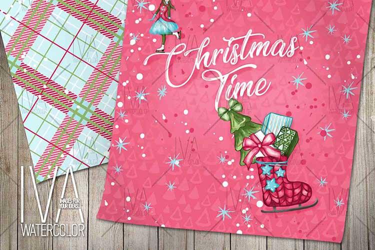 Christmas Digital Paper Pack, Christmas Scrapbook example image 5