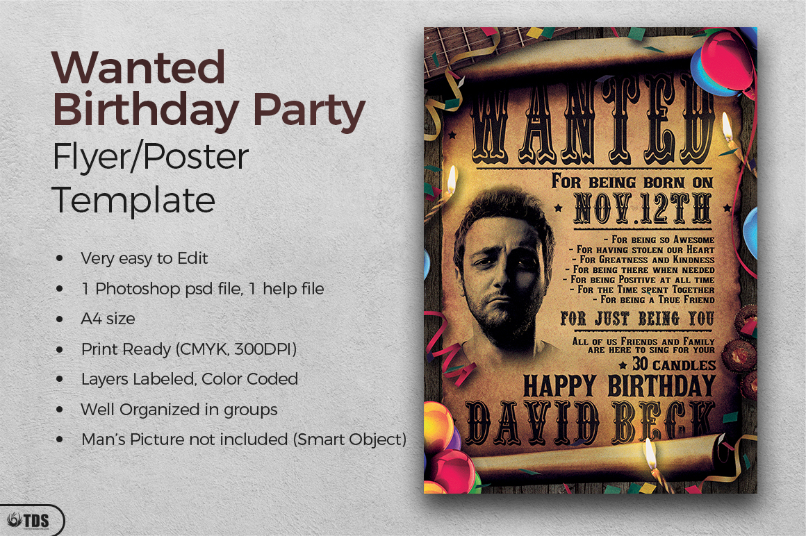 Wanted Birthday Party Flyer Template example image 2