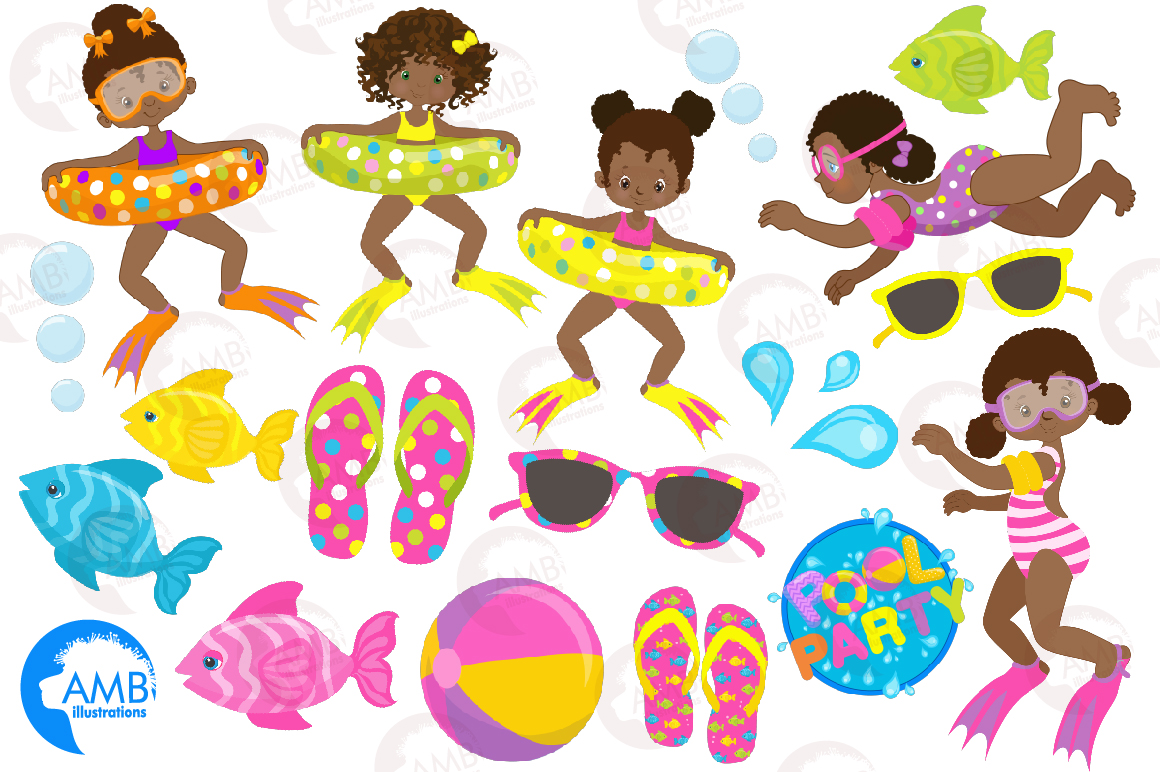 Pool party Mega clipart, graphics pack AMB-1998 example image 4