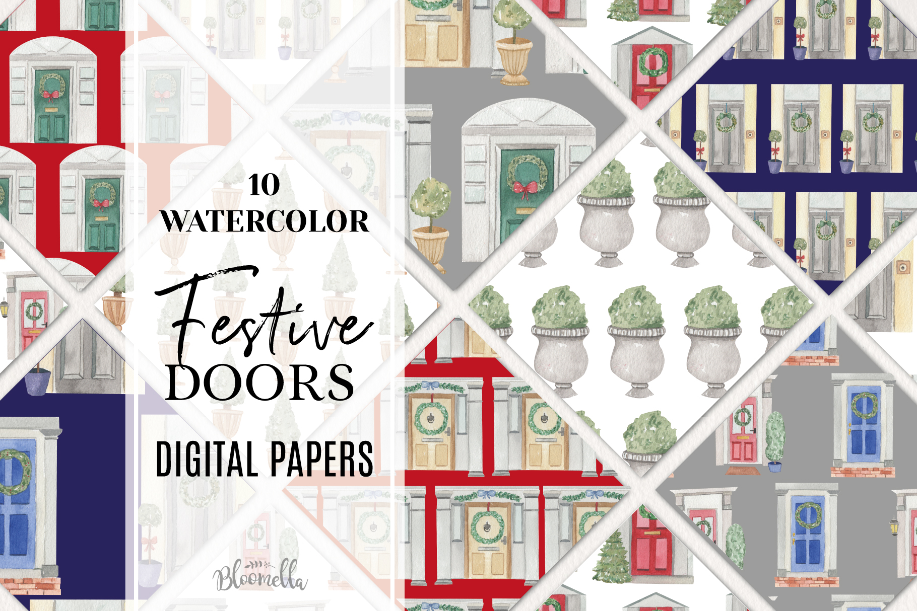 Festive Doors Xmas 10 Seamless Patterns Digital Christmas example image 1