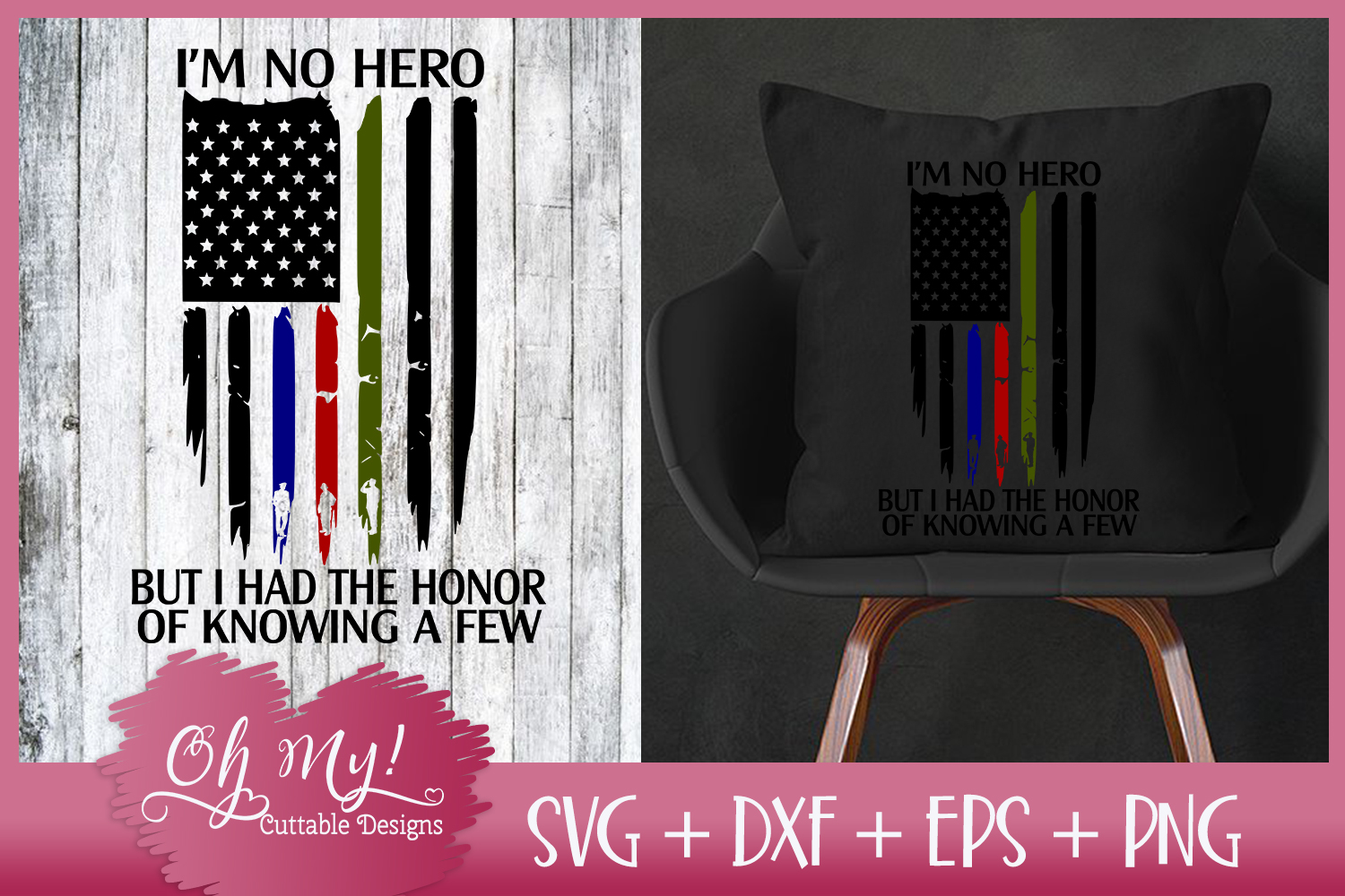 Distresses Flag - I'm No Hero - SVG DXF EPS PNG Cutting File example image 2