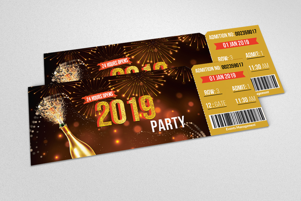 Happy New Year Party Ticket example image 2