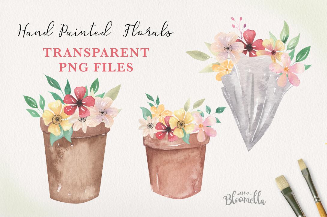 Floral 8 Bouquets Boxes, Flower Pots Watercolor Elegant example image 2
