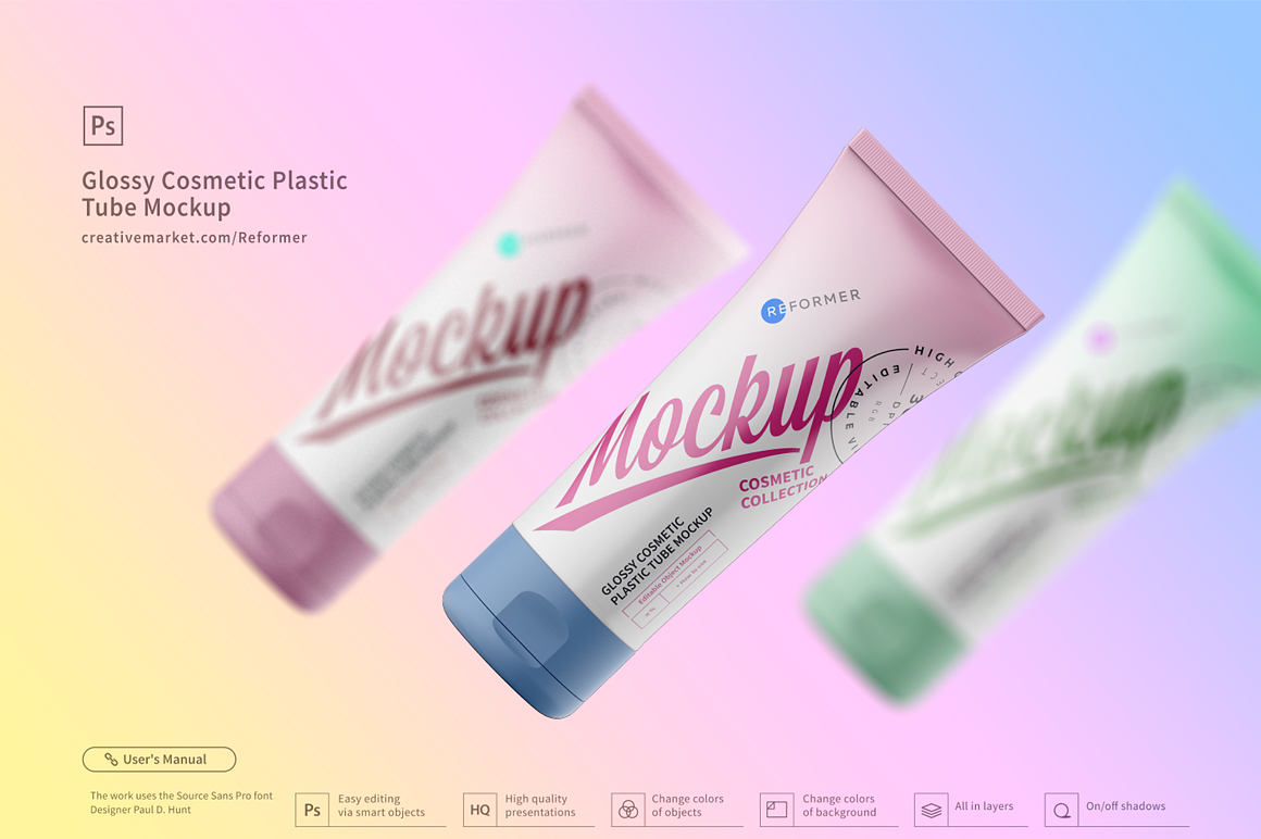 Cosmetic Plastic Tube Mockup Poster example image 3