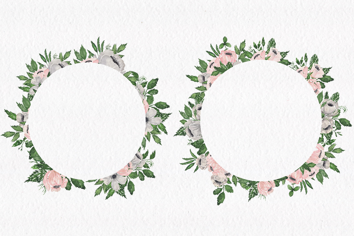 Gray and Pink Blooming. Watercolour clipart collection. example image 7