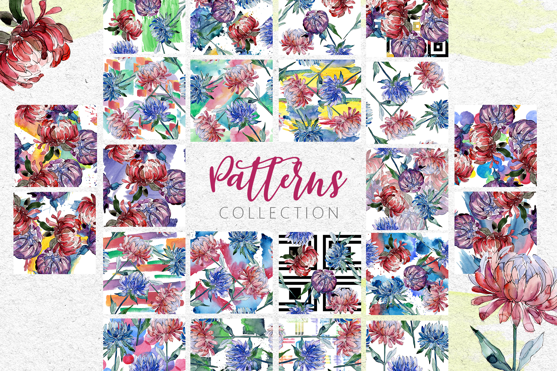 Autumn Asters Watercolor png example image 3