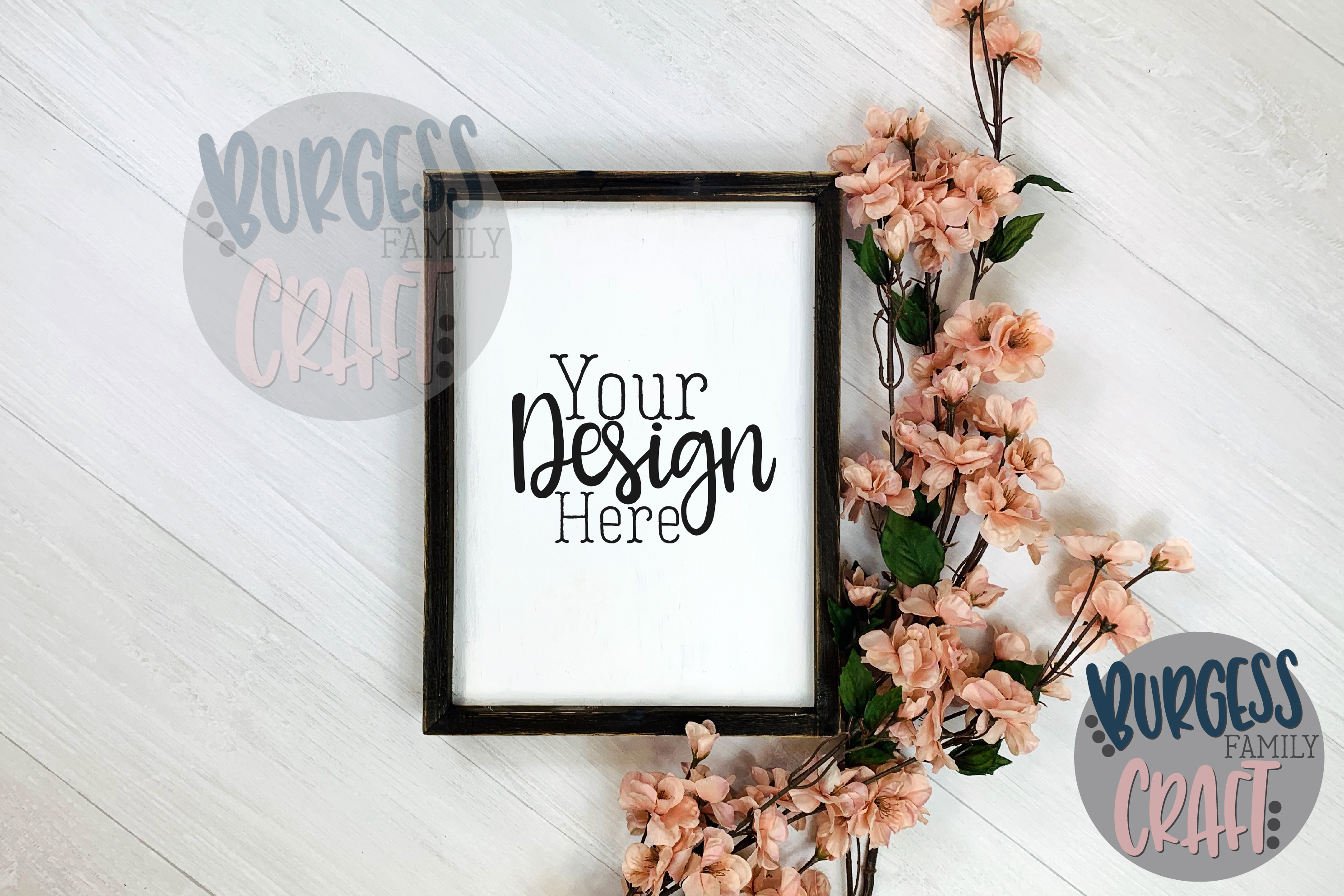Wood sign blossoms vertical Craft mock up |High Res JPEG example image 2