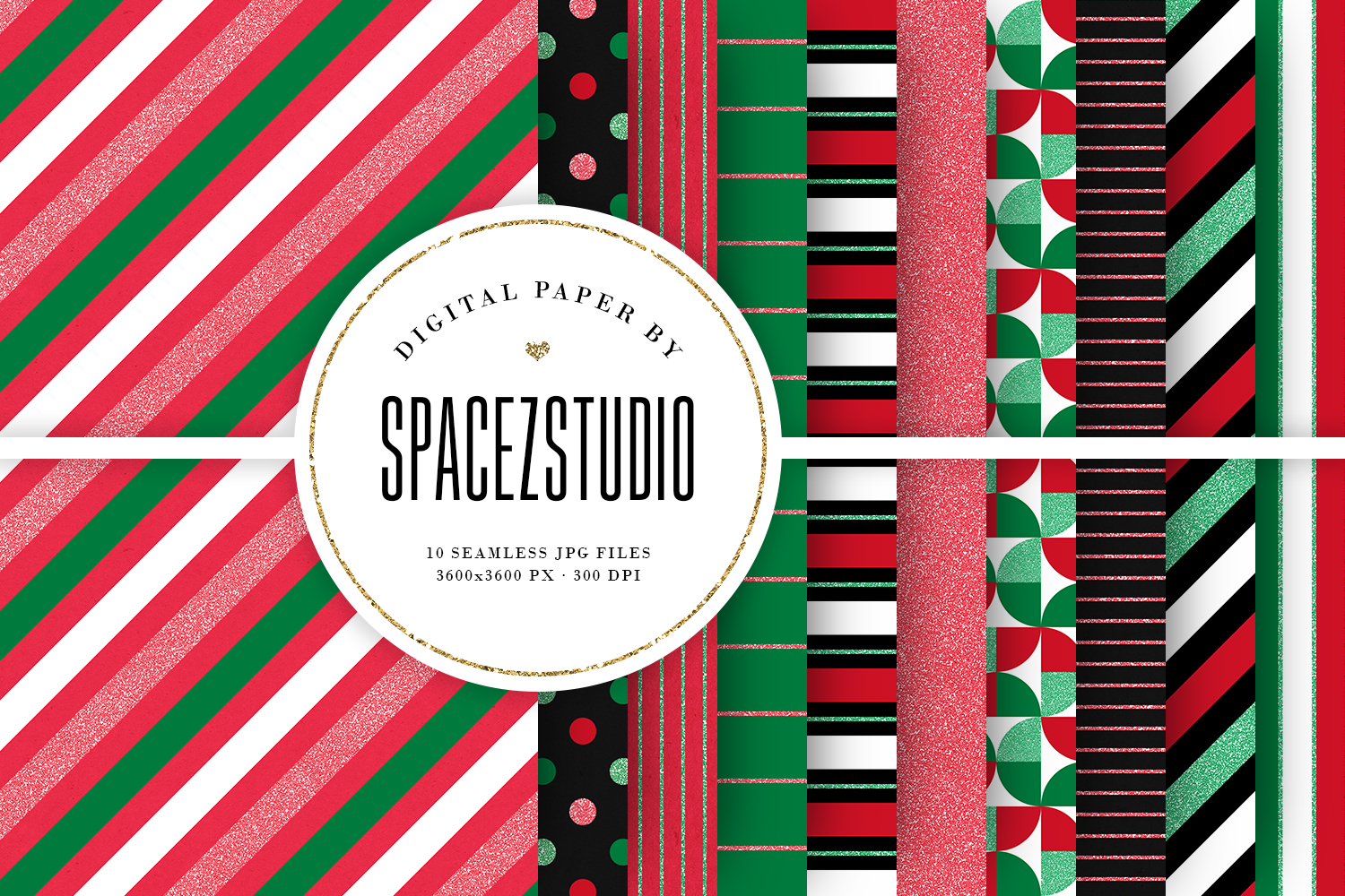 Christmas Colors & Glitter Seamless Geomteric Digital Paper example image 1