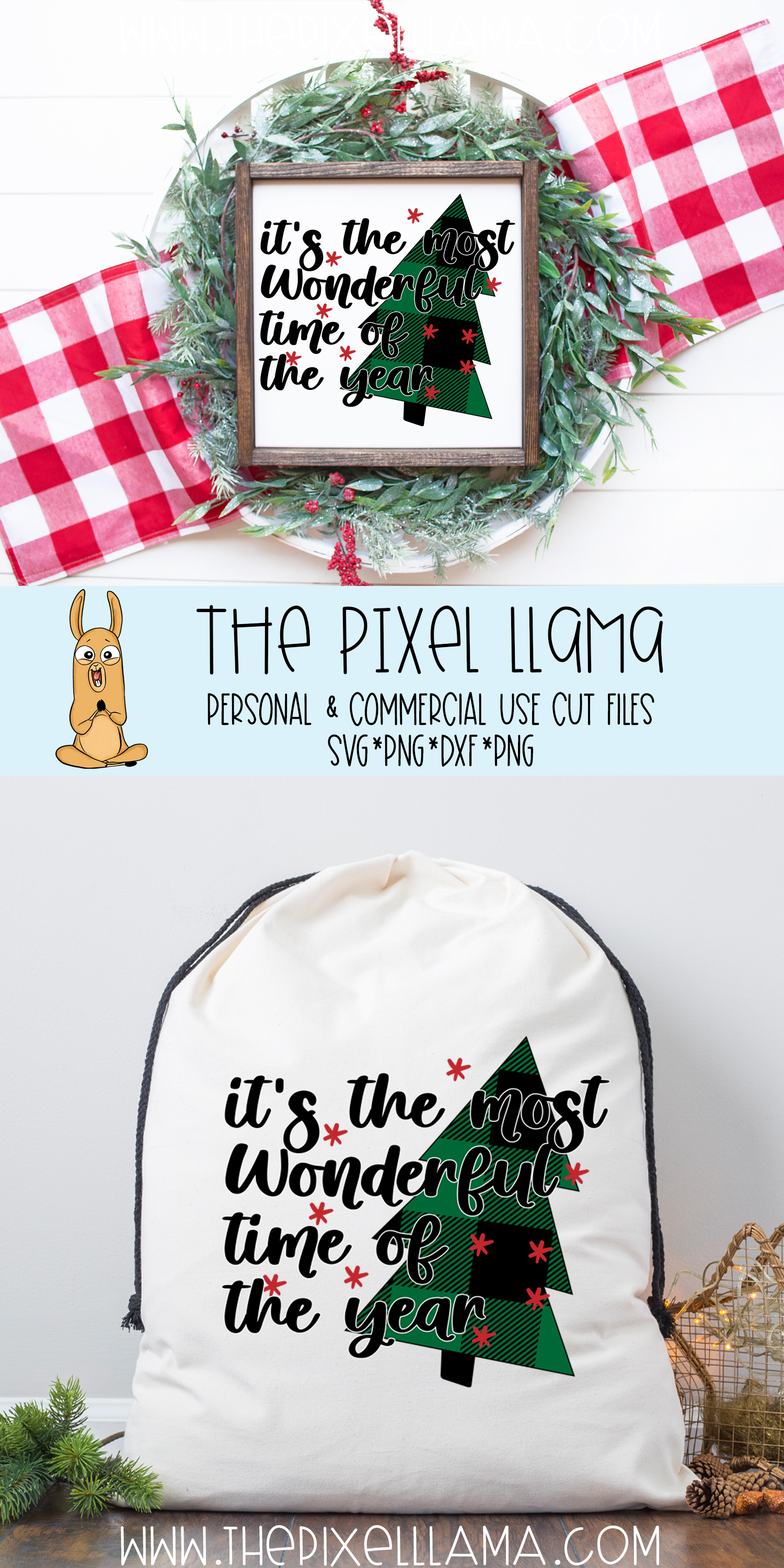 Most Wonderful Time Of The Year Plaid Christmas SVG example image 3