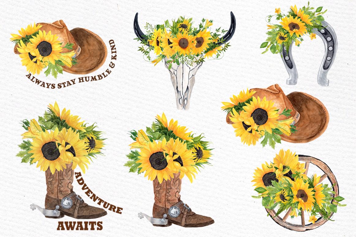Sunflower Clipart, WESTERN CLIPART,Cowboy clipart,Cowboy ...