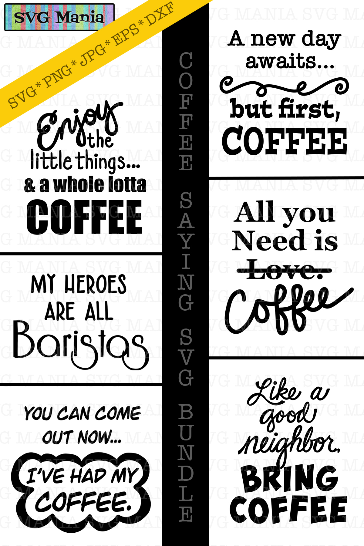 Coffee Saying SVG File Bundle, Funny Coffee SVG Files, SVG example image 2