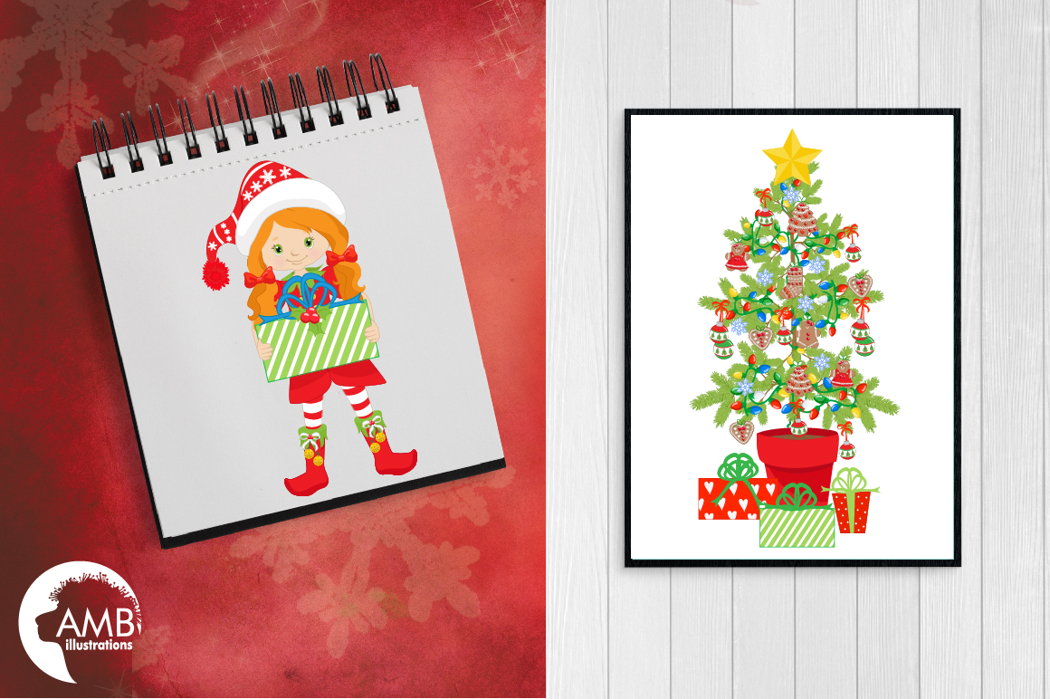 Christmas Girls, winter girls clipart, graphics, illustrations AMB-1519 example image 5
