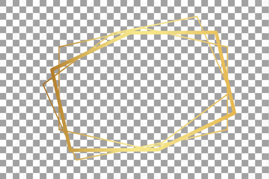 Elegant wedding geometric golden frames, lineal frames png example image 12