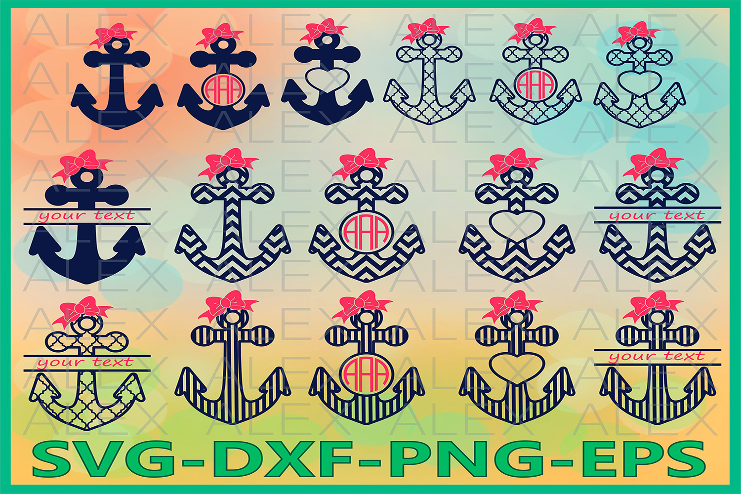Anchor SVG, Anchors Monogram Svg Files example image 1