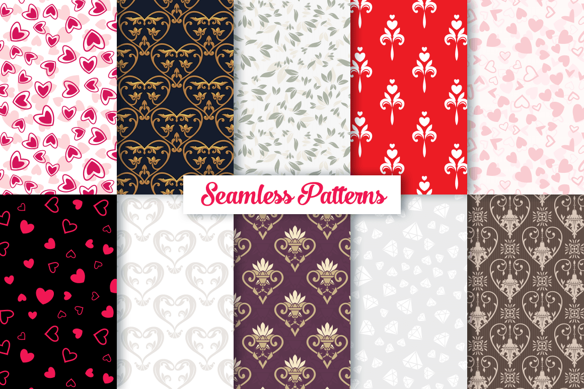 100 Heart Vector Ornaments and Seamless Patterns example image 2