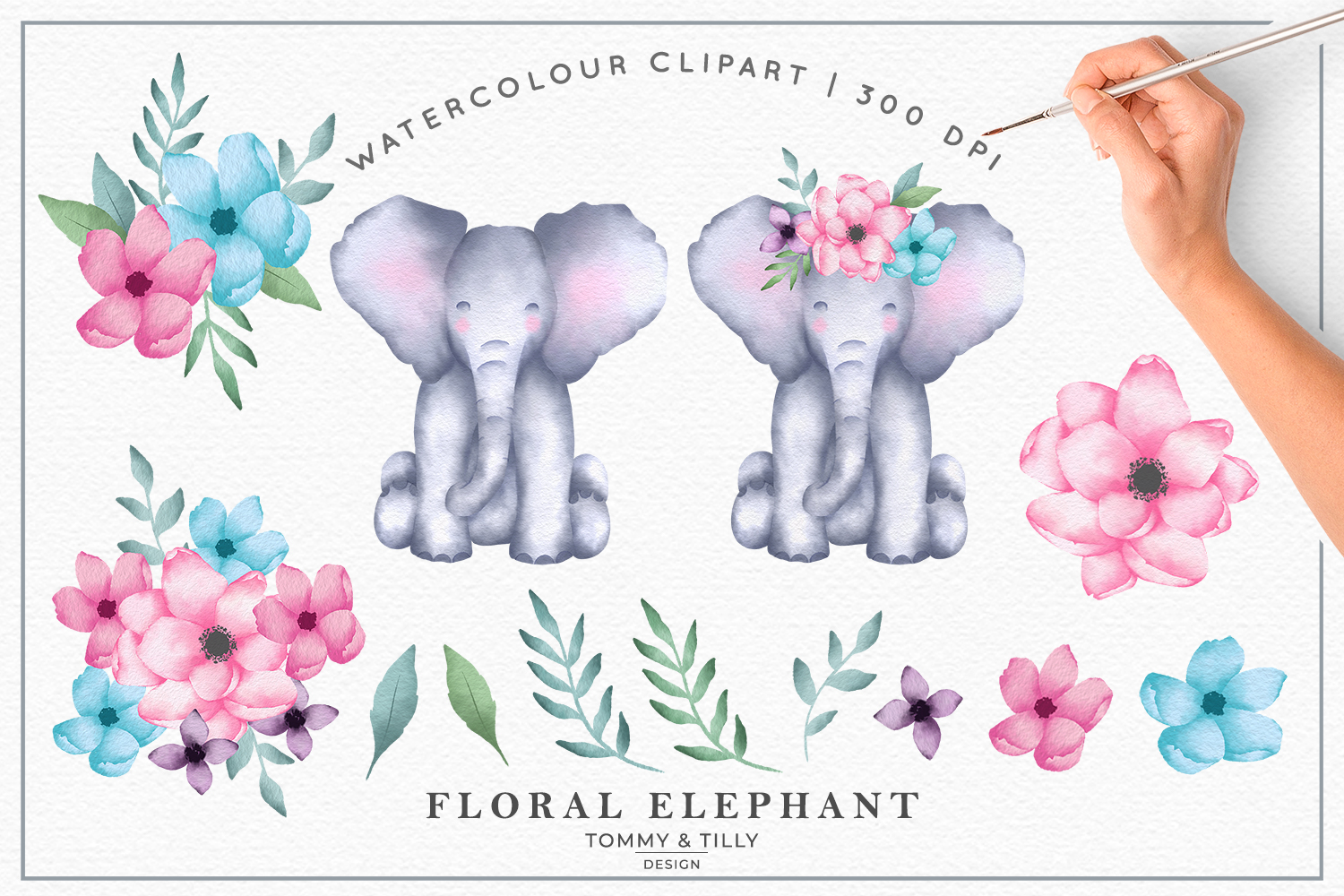 Watercolour Floral Elephant Collection - Kids Clipart PNG example image 2
