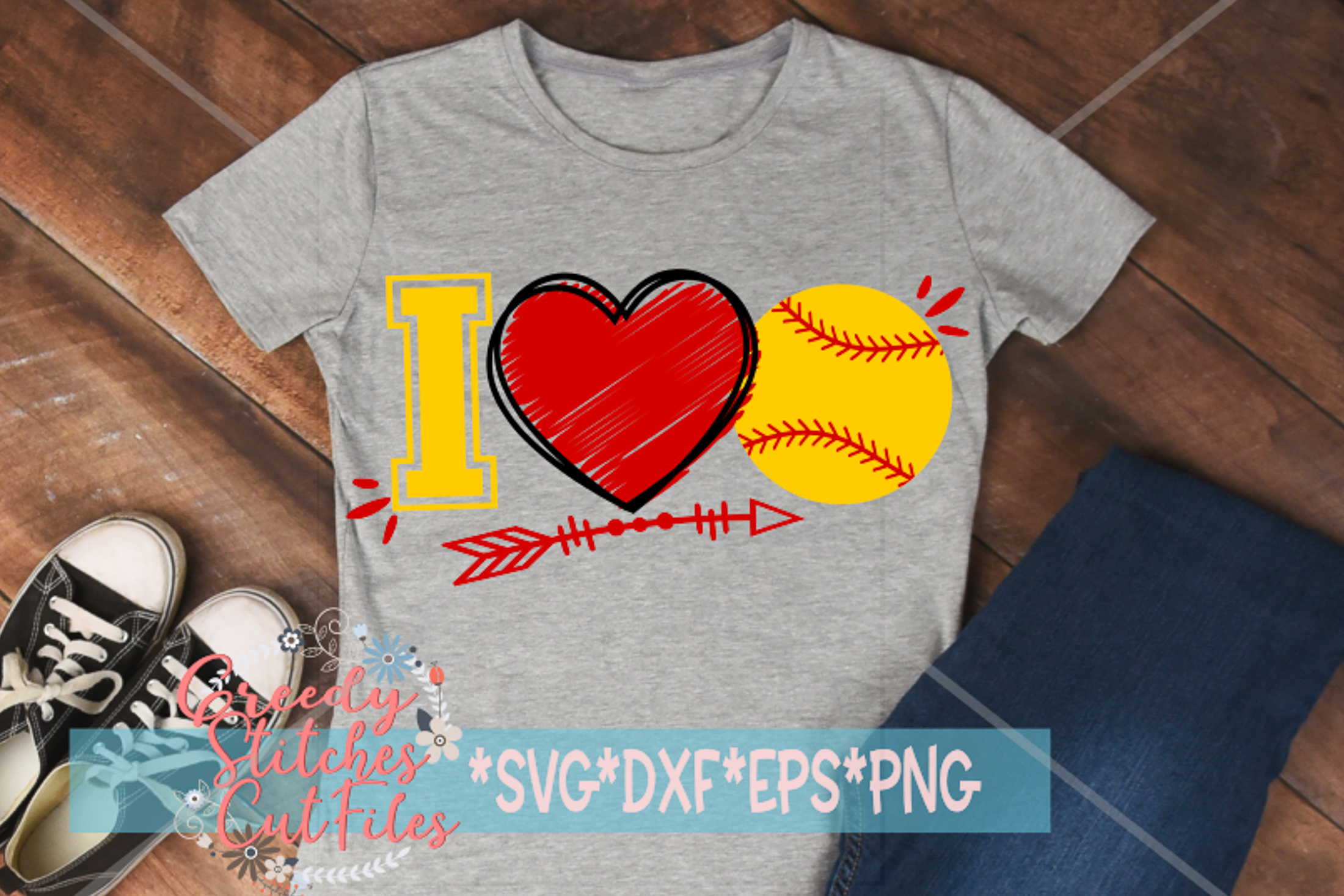 I Love Softball SVG, DXF, EPS, PNG Files example image 1