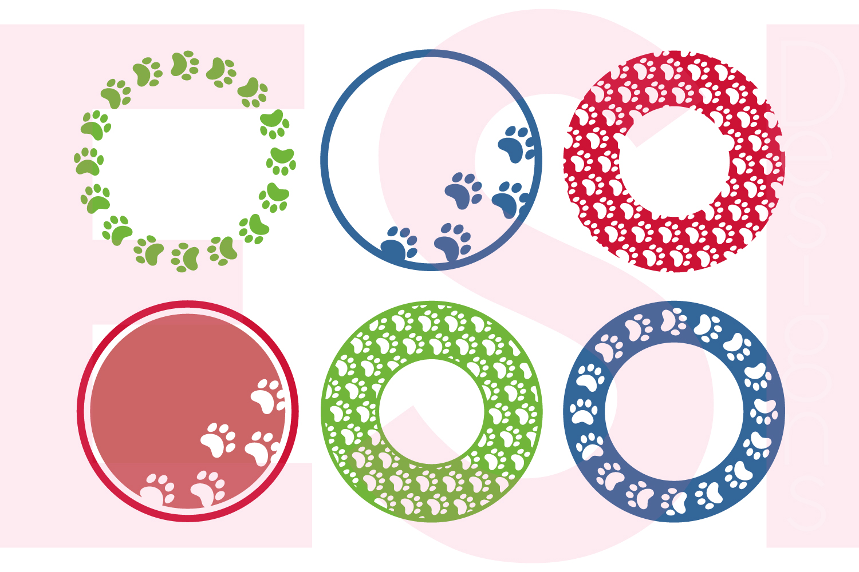 Paw Print Circle Monogram Frame Designs example image 1