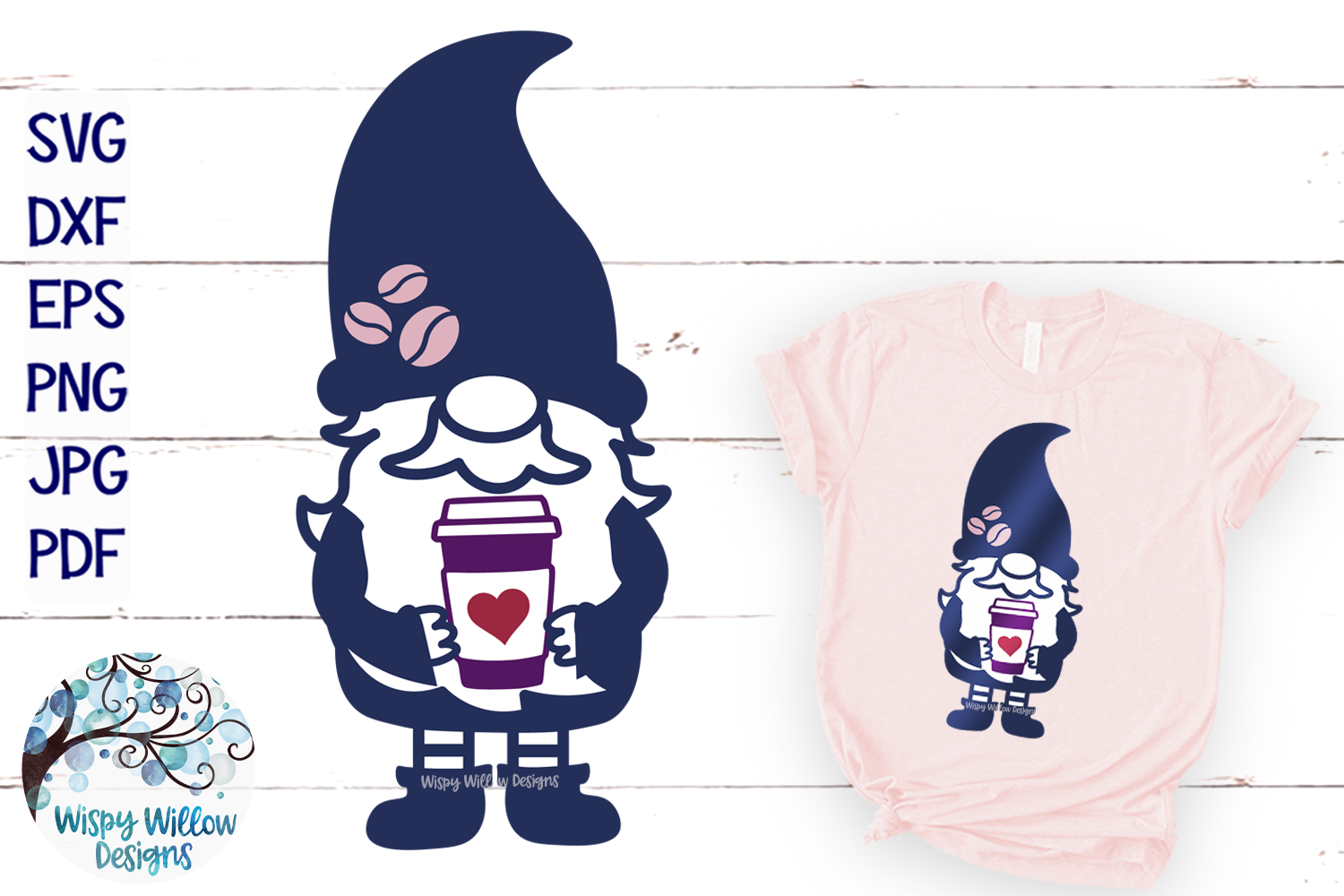 Gnome with Coffee SVG | Gnome SVG Cut File example image 1