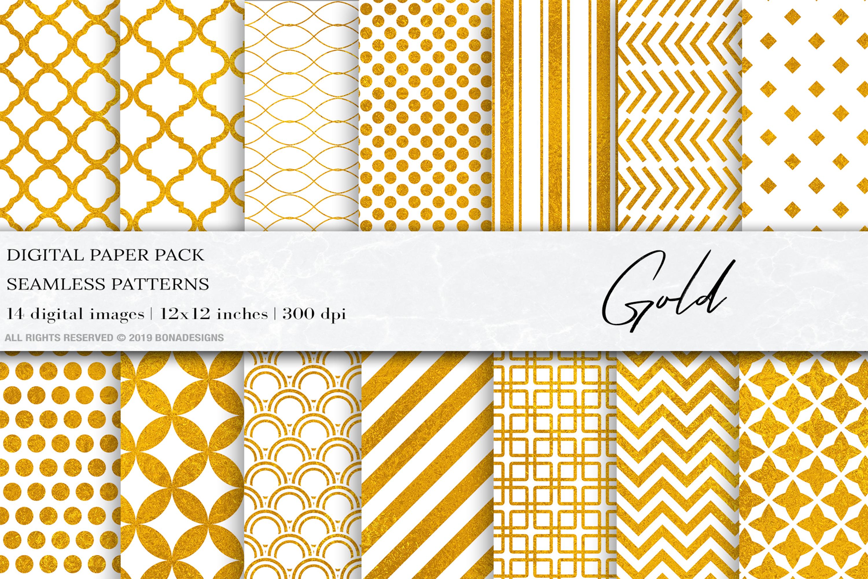 Gold Digital Paper, Gold Geometric Seamless Patterns,Wedding example image 1