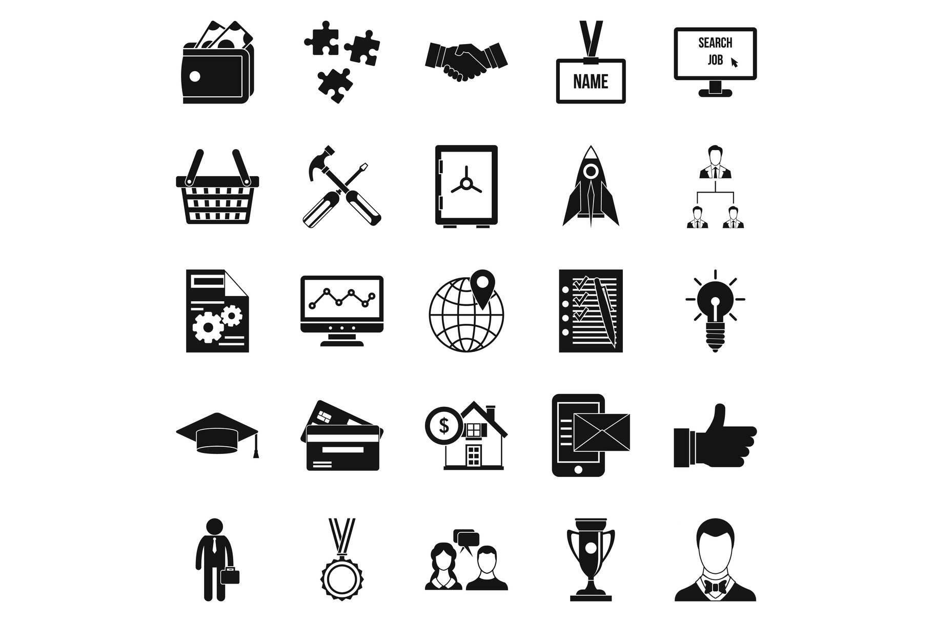 Bkg icons set, simple style example image 1