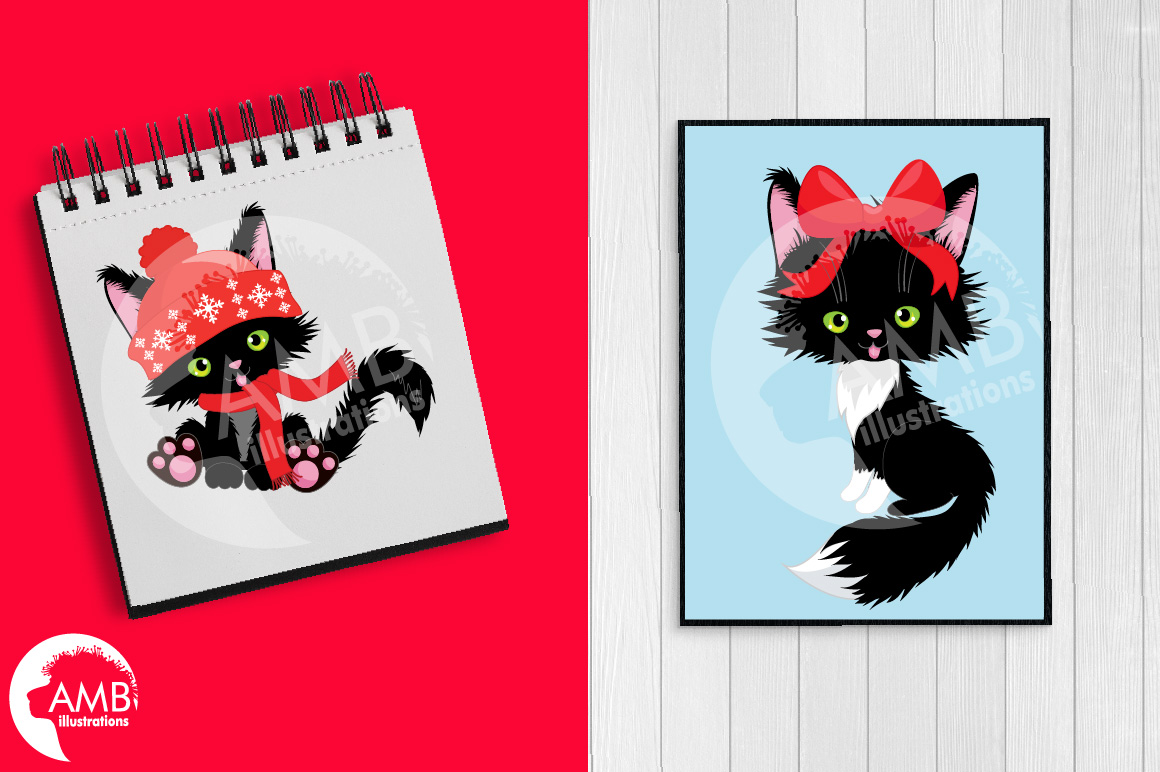 Black cats, Christmas cats graphics and illustrations example image 3