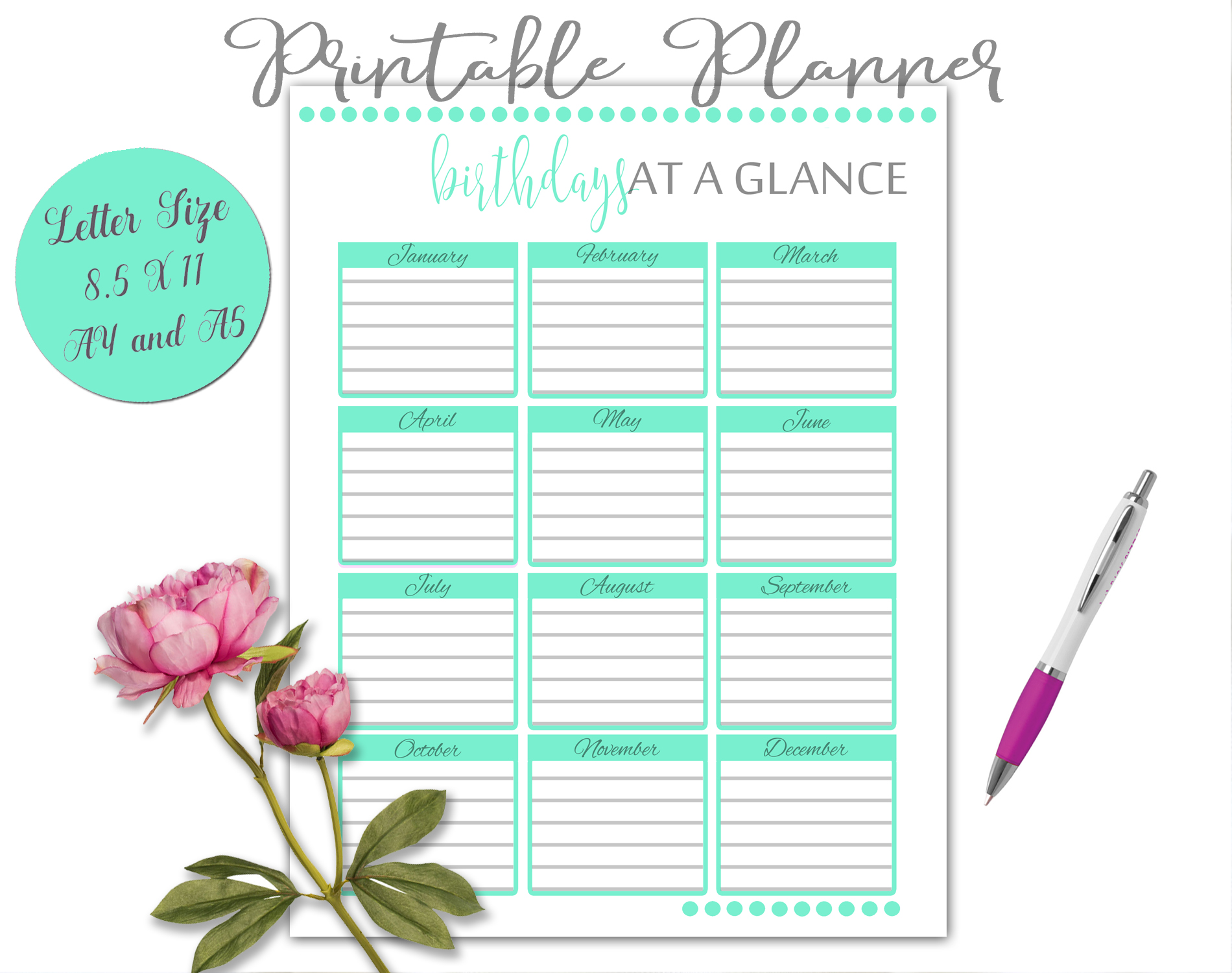 Printable Daily Weekly Monthly Planner Sheets example image 3