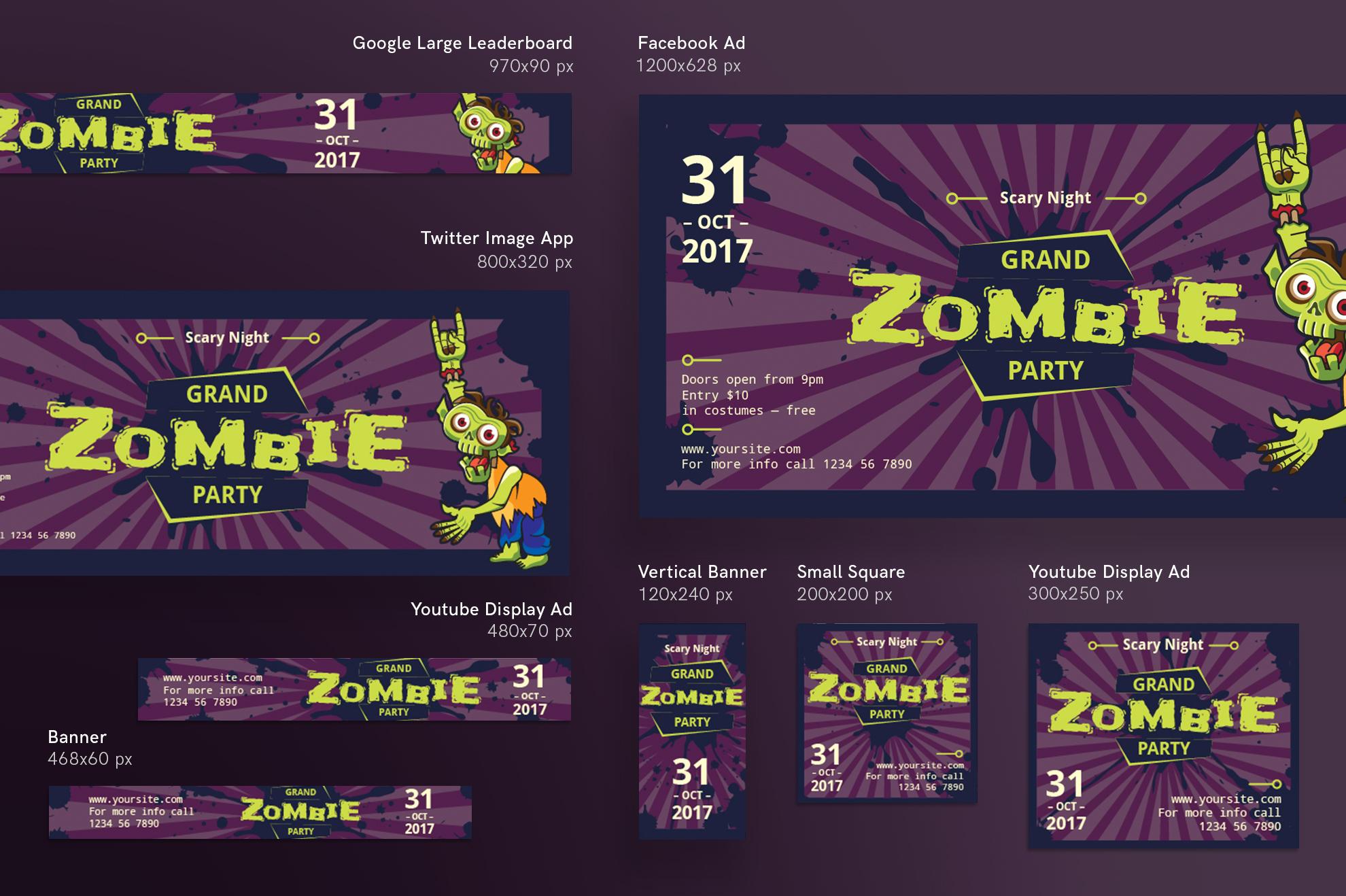 Zombie Party Design Templates Bundle example image 6