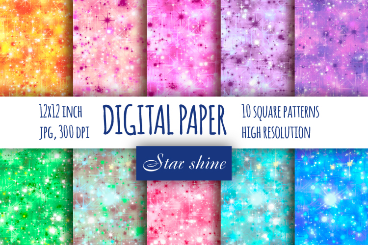Star sparkle digital paper example image 1