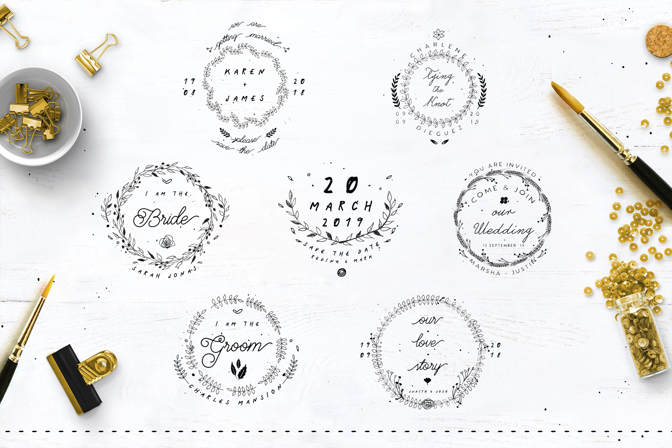 30 Save the Date Wreath Logo example image 3