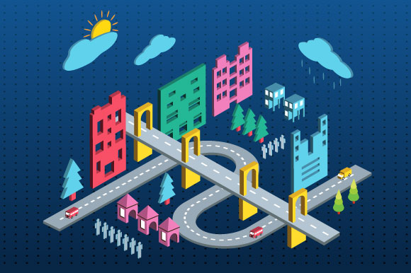 Color isometric city example image 1